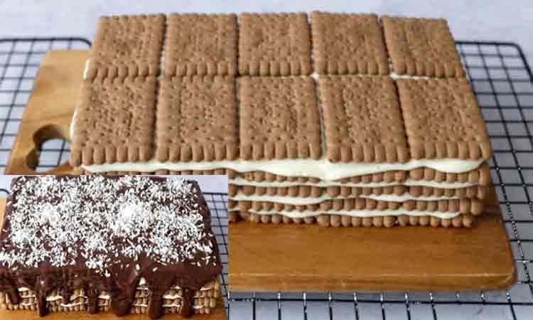 Desert cu biscuiti si crema simpla facuta in casa. Este delicios, toata lumea o sa il adore