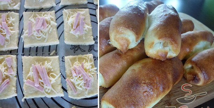 Pateuri fragede și gustoase, cu șuncă și cașcaval – Se prepară din 500g făină, 300g brânză, 2 ouă, 200g cașcav